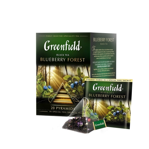 Greenfield fekete tea piramis 20x1,8g blueberry forest