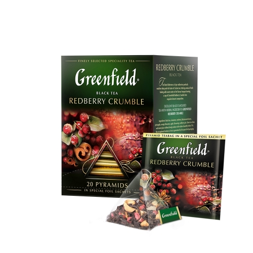 Greenfield fekete tea piramis 20x1,8g redberry curumble