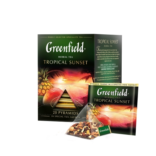 Greenfield herbal piramis 20x1,8g tropical sunset narancs-mangó tea